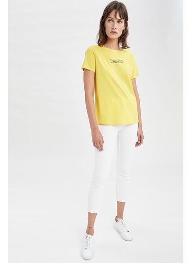 DeFacto Slogan Baskılı Pamuklu Relax Fit Kısa Kollu Tişört Sarı